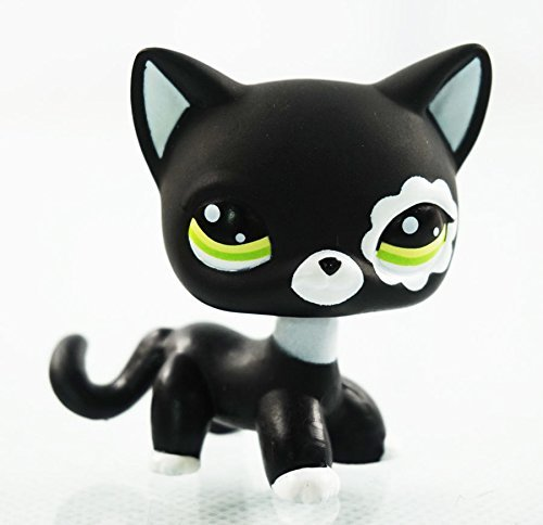 Rare Black Cat Green Eyes Flower Patch Kids Toy Littlest Pet Shop LPS #2249