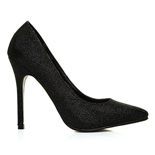 Toni Black Mesh Pattern Pointed Toe Court Shoes