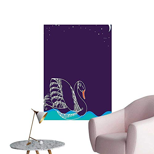 Wall Stickers for Living Room Big Winged Swan Floating in Lake Dark Starry Night Graphic Vinyl Wall Stickers Print,28