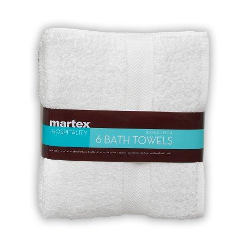 ATH TOWEL SET BY MARTEX -  6 Bath Towels, Home, Shower, Tub, Gym, Pool - Machine Washable, Absorbent, Professional Grade, Hotel Quality - White (Commercial Bath)