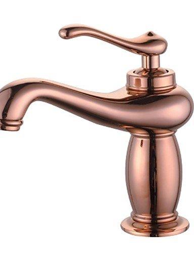 Zeitgenössische Roségold Messing ein Loch Einhand Waschbecken Wasserhahn