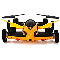 SYR-Flying Quadcopter Remote Control Car and Drone with Battery and LEDs 4CH 2.4GHz four- axis 6 Axis Gyro Drones RC 360 degree roll Helicopter-Yellow