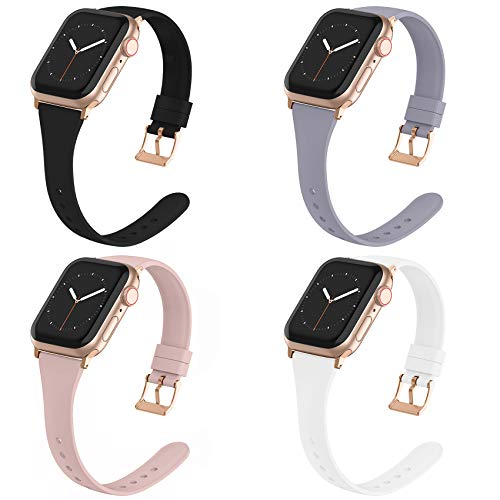 Compatible with Apple Watch Bands 38mm 40mm 42mm 44mm for Women Men, Adepoy Soft Silicone Narrow Slim Replacement Sport Wristbands for iWatch Series 6 5 4 3 2 1 SE (38mm 40mm, Small Black White)