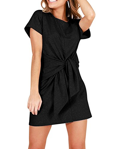 Haola Womens T Shirt Dress Casual Loose Short Sleeve Tie-up Waist Dresses Black - Drop Dress Tunic Waist