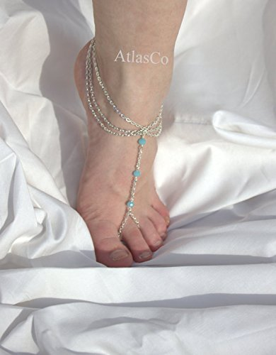 SUMMER PARADISE 8, Silver Slave Anklet, Barefoot, Sandal ,Beach Style , Sold as Pair,silver chain,chain anklet,silver anklet,wedding sandal,gold chain,