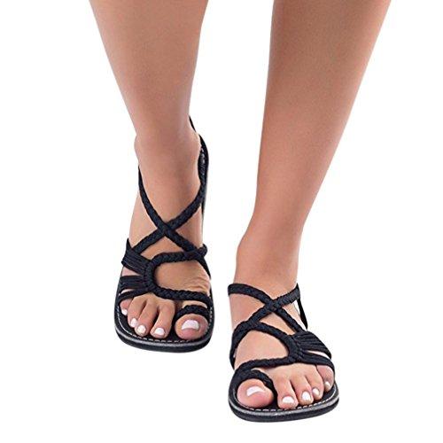 Sandalias Verano Mujer Tejidos Correa De Chanclas Zapatos Moda ulTFKJc315