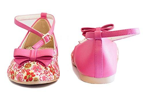 Bf Seule Lady Bowtie Floral Fleur Partie Cheville Sangle Chaussures Plates Rose