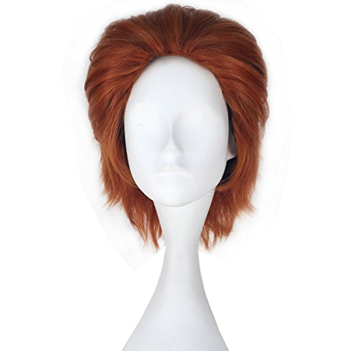 Miss U Hair Men Short Straight Hair Synthetic Auburn Color Halloween Cosplay Wig