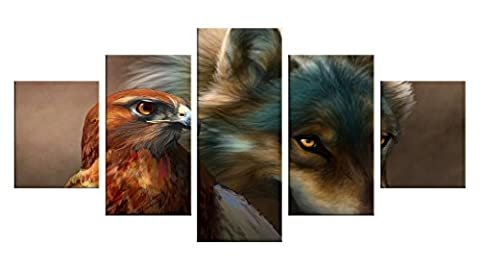 Native American Canvas Wall Decor - 5 Pieces Appreciation Wall Art - Oil Painting - Unframed - Indian Living Room Party Eagle Bathroom Kitchen Theme Decorations - Graduation Gifts - Native American Art Masks