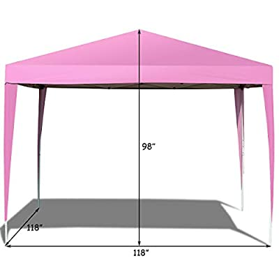 Tangkula 10'X10' Outdoor Tent, EZ Pop Up Portable Lightweight Canopy Tent, Height Adjustable, Instant All Weather, Party Wedding Canopy, Gazebo Shelter Tent with Carry Bag (Pink) : Garden & Outdoor
