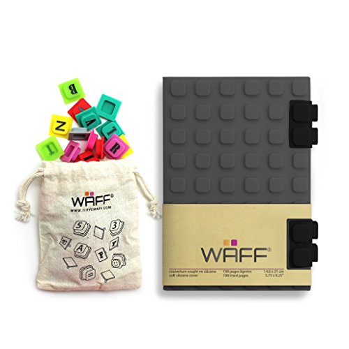"""41220jJZTwL - WAFF Soft Silicone Cover Combo Personalized Notebook / Journal, Medium 5.75"""" x 4"""", Gray"""