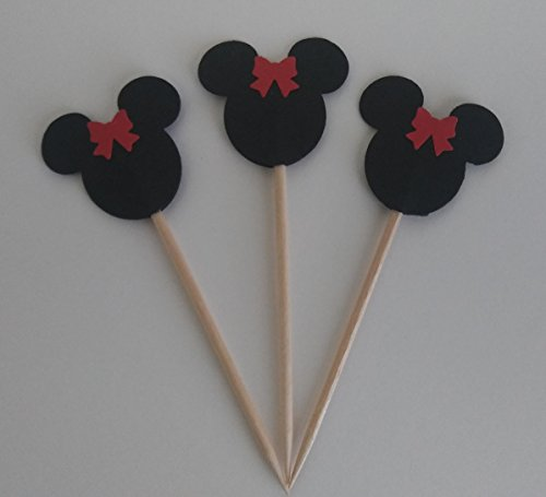 Minnie Mouse Red Bow Double Sided Cupcake Toppers Party Food Picks (25 Count)