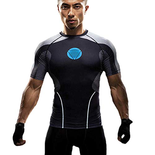 Black Short Sleeve Compression Fitness Shirt Iron Man Halloween Costume S -