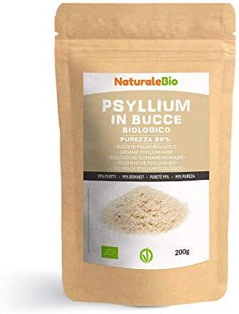Biologische Psylliumschillen zuiverheid 99 200 g 100 Psyllium husk Bio natuurlijk en zuiver Geproduceerd in India Rijk aan vezels te consumeren in water dranken of sappen NaturaleBio