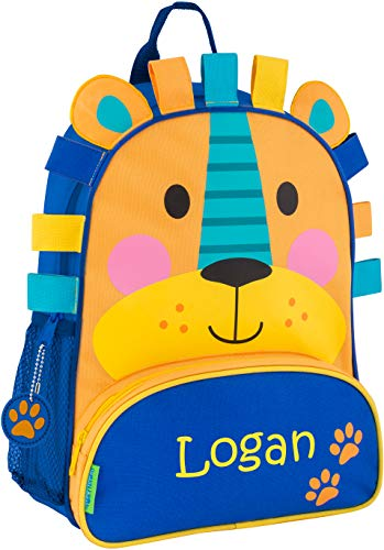 (Monogrammed Me Personalized Sidekick Backpack, Blue Lion, with Custom Name)