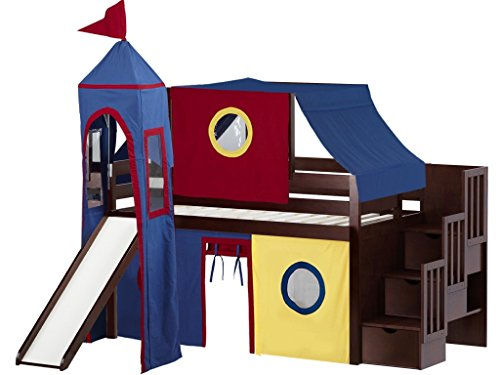 JACKPOT! Castle Low Loft Stairway Bed with Slide Red Yellow & Blue Tent and Tower, Twin, Cherry