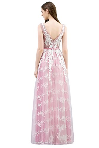 Abendkleid Rosa Damen Ball Lang Elegant Misshow Applique Tüll Abiballkleid Prom Rückenfrei Dress gZ5PP6q