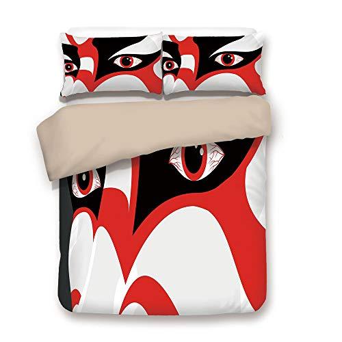 Face Mask Navy Back - iPrint Duvet Cover Set,Back of Khaki,Kabuki Mask Decoration,Japanese Drama Kabuki Face with Dramatic Eyes Cultural Theater,Black White Red,Decorative 3 Pcs Bedding Set by 2 Pillow Shams,Full