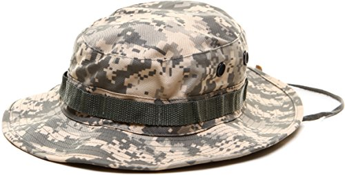 ACU Digital Camouflage Military Wide Brim Jungle Bucket Fishing Camping Boonie Hat with Chin Strap