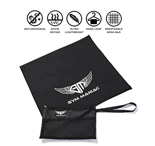Microfiber Towel Gym Maniac GM - Multi-purpose for Sports, Workout, Fitness, Gym, CrossFit, Pilates, Travel, Camping, Yoga, Swimming, Beach for Man and Woman with Travel Bag