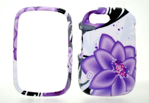 Violet Flower Snap on Protective Cover Case for HP Veer 4G + Microfiber Pouch Bag