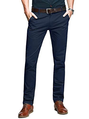 (OCHENTA Men's Casual Tapered Flat-Front Dress Pants #5080 Navy Blue 30)
