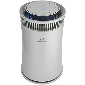 SilverOnyx Air Purifier for Home with True HEPA Filter, Air Quality Monitor, UVC Sanitizer, Cleaner for Allergies, Pets, Smokers, Mold, Pollen, Dust, Quiet Bedroom Odor Eliminator - 500 sq ft. Silver