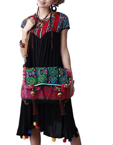 Broderie Besace Main Main 100 Bandoulière Oriental Femme Fait d'Art à Sac 137 IIqw87Y