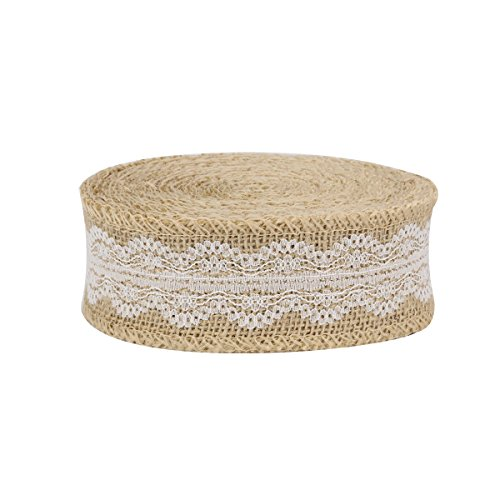 Burlap Ribbon Roll with White Lace - 10 Yard Jute Fabric for Crafts and Decorations - 1.96 Inch Wide, Natural, by Beaulegan ()