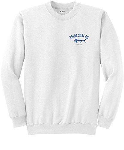 Koloa Surf Hawaiian Blue Marlin Logo Crewneck Sweatshirt - M-White/c
