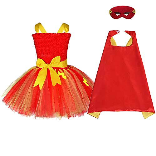 Birthday Role Play Costume for Girls Halloween Superhero Outfits Cape and Mask Set]()