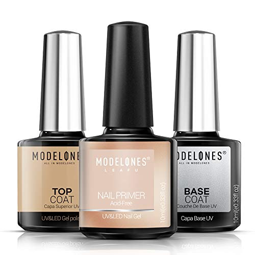 Gel Top Coat and Base Coat With Nail Primer, 3Pcs No Wipe Base and best coat Gel Nail Polish Nail Bond Primer, 10ml New Upgraded Formula Long-Lasting Gel Nail package by means of Modelones