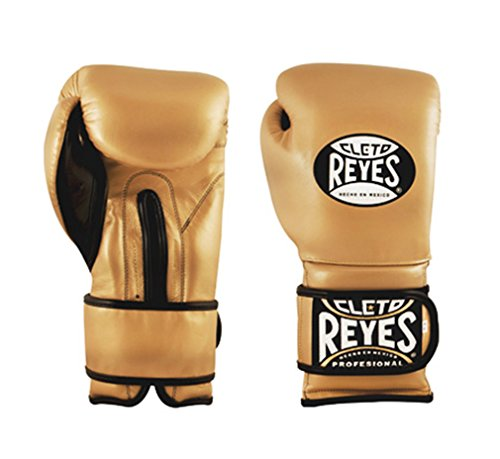 16-Ounce Solid Gold Cleto Reyes Boxing Training Gloves With laces and attached thumb
