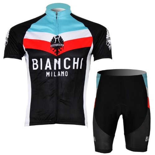 - 2013 Replica BIANCHI Cycling Jersey Set Short-Sleeved Fast Drying Black,Small