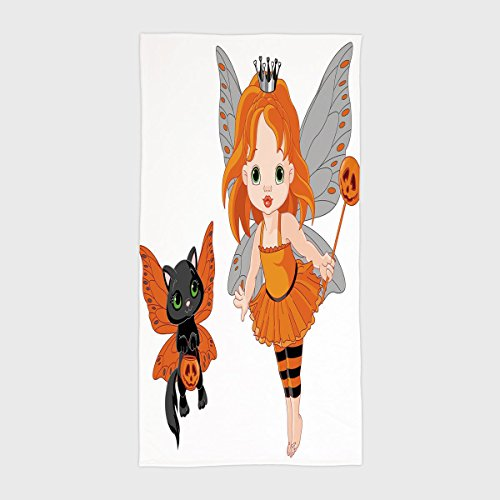 Cotton Microfiber Hotel SPA Beach Pool Bath Hand Towel,Halloween,Halloween Baby Fairy and Her Cat in Costumes Butterflies Girls Kids Room Decor Decorative,Multicolor,for Kids, Teens, and Adults