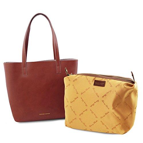 Tuscany Leather Ilaria - Borsa in pelle sfoderata con tasca interna estraibile - TL141612 (Marrone) Marrone