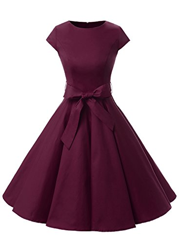 Dressystar Vintage 1950s Polka Dot and Solid Color Prom Dresses Cap-sleeve S Burgundy