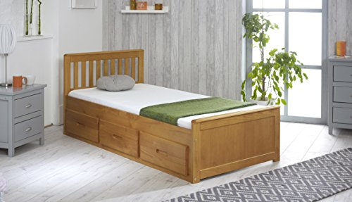 Solid Pine 3'0 Single Captain Cabin Bed with 3 Drawer Storage (Honey) (Underbed Storage Pine)