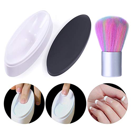 NICOLE DIARY French Dip Nail Container Dipping Powder Tray Nail Tips Mold Guides and Nail Cleaning Brush Acrylic UV Gel Powder Dust Remover Brush Manicure Nail Art Tool
