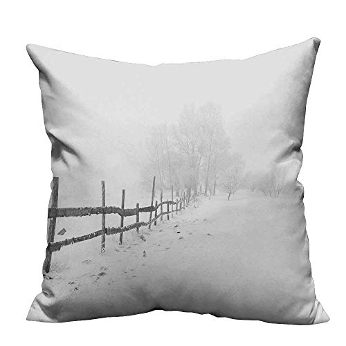 - Jiahong Pan Zippered Pillow Covers Snow Covered Fence in White Space Decorative Couch 17.5x17.5 inch(Double-Sided Printing)