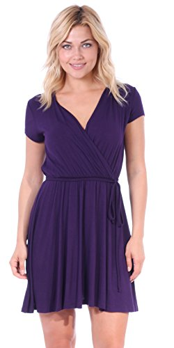 Popana Women's Casual Summer Dress Midi Swing Faux Wrap Sundress Made in USA Eggplant Large ()