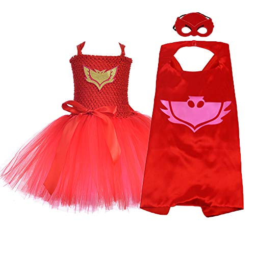 Superhero Owlette Costumes Set for Girls Birthday Role Play Supergirl Tutu Costume (Red, X-Large)]()