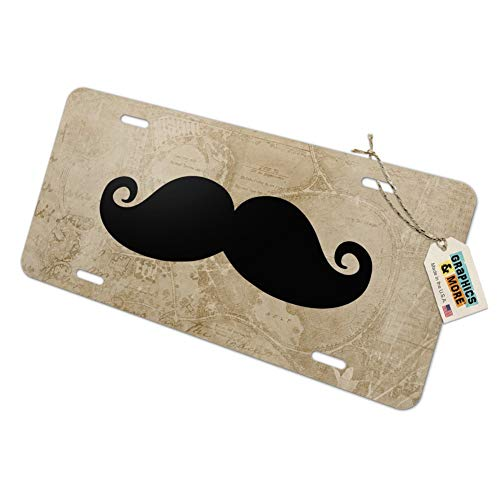 Graphics and More Curly Mustache Novelty Metal Vanity Tag License Plate ()