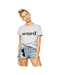 Merry Women's Boyfriend Style WORD Letter Print Cotton Slim Short Sleeve T Shirt