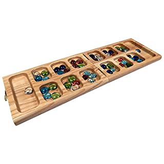 Vicente Oak Wood Folding Mancala Board Game, 18 Inch Set