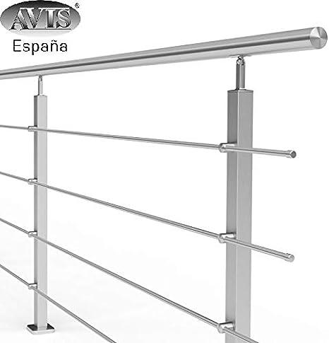 AVIS España Barandilla de Acero Inoxidable con Postes de Perfil 40x40mm y 4 Tubos travesaños