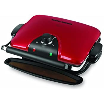 George Foreman 84-Inch Removable Plate Grill, Red