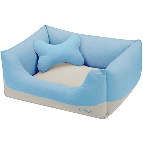 Blueberry Pet Heavy Duty Cotton Linen Blended Canvas Overstuffed Cuddler Bolster Lounge Dog Bed, Removable & Washable Cover w/YKK Zippers, 25″ x 21″ x 10″, 6 Lbs, Baby Blue & Beige Color-block