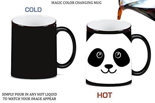 Panda Bear Face Cute Magic Color Changing Ceramic Coffee Mug Tea Cup by Moonlight (Panda Face Mug)