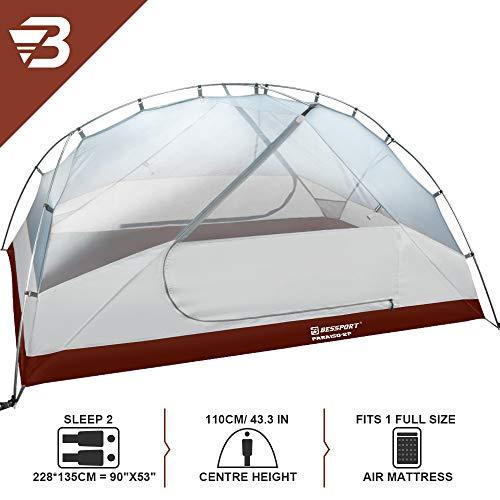 Bessport 3 and 2 Person Backpacking Tent Lightweight, Easy Setup 3 Season Camping Tent -Two Doors, Waterproof, Anti-UV Large Tent for Family, Outdoor, Hiking